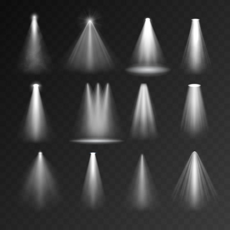 Illustration pour Light sources set on transparent background. Spotlight set for web and mobile devices - image libre de droit