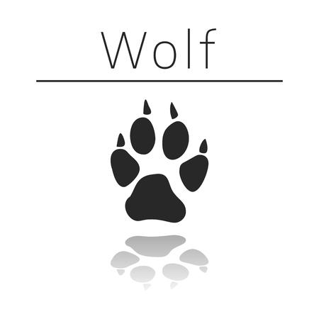 Ilustración de Wolf animal track with name and reflection on white background - Imagen libre de derechos