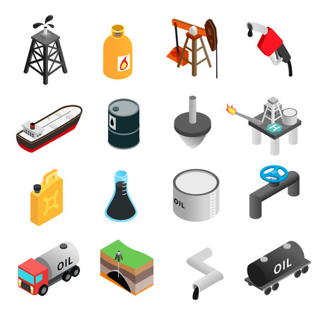 Illustration pour Oil industry isometric 3d icons set isolated on white background - image libre de droit