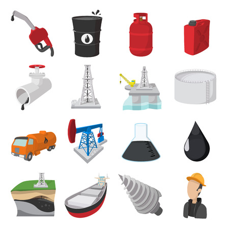 Illustration pour Oil industry cartoon icons set isolated on white background - image libre de droit