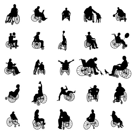Illustration for Man and woman in wheelchair silhouettes set isolated on white - Royalty Free Image