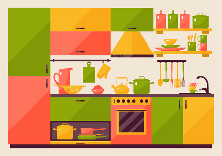 Illustration pour Kitchen with furniture in flat style for web and mobile devices - image libre de droit