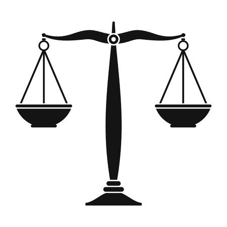 Illustration pour Justice scales black icon. Simple black symbol on a white background - image libre de droit