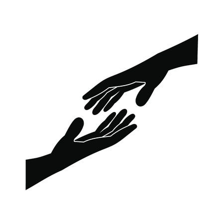 Illustration pour Two arms stretching towards each other black simple icon - image libre de droit