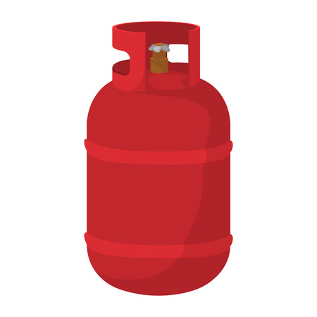Illustration pour Gas bottle cartoon icon. Red container with flame symbol on a white background - image libre de droit