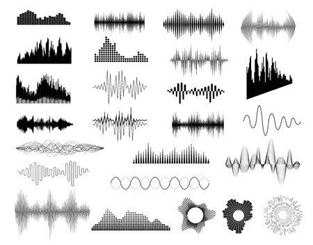 Ilustración de Sound waves set on white for any design - Imagen libre de derechos
