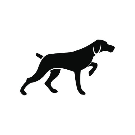 Ilustración de Hunting dog black simple icon isolated on white background - Imagen libre de derechos