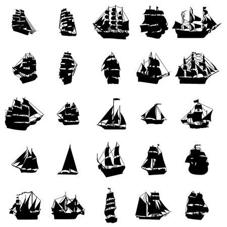 Illustration pour Sailing ship silhouette set isolated on white background - image libre de droit