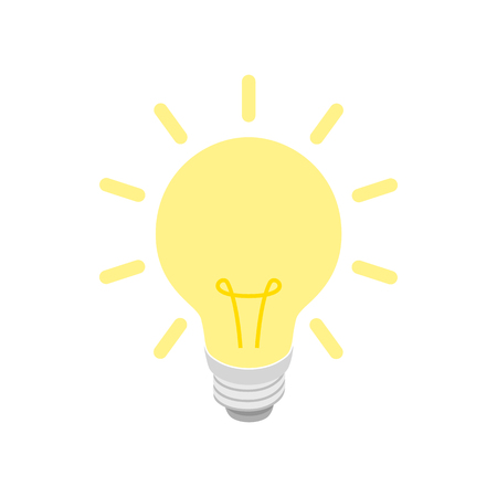 Illustration pour Glowing yellow light bulb icon in isometric 3d style on a white background - image libre de droit