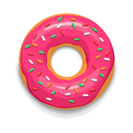 Illustration pour Pink glazed donut icon in cartoon style on a white background - image libre de droit