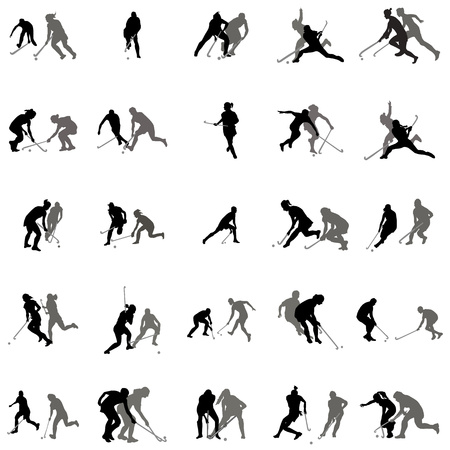 Players in hockey on the grass silhouette set on a white background