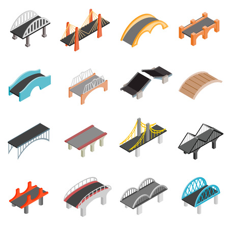 Ilustración de Bridge set icons in isometric 3d style isolated on white background - Imagen libre de derechos