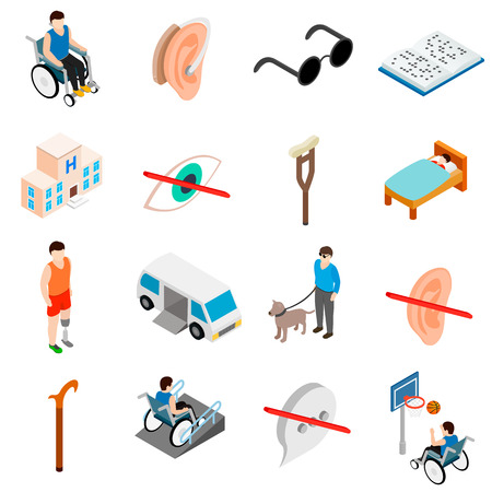 Illustration pour Disabled people care set in isometric 3d style isolated on white background - image libre de droit