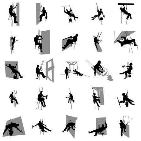 Ilustración de Worker climber silhouette set in simple style on a white background - Imagen libre de derechos