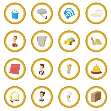 Illustration pour Hotel cartoon style icon circle - image libre de droit