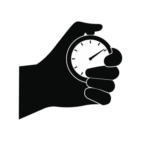 Photo for Stopwatch in hand black simple icon isolated on white background - Royalty Free Image