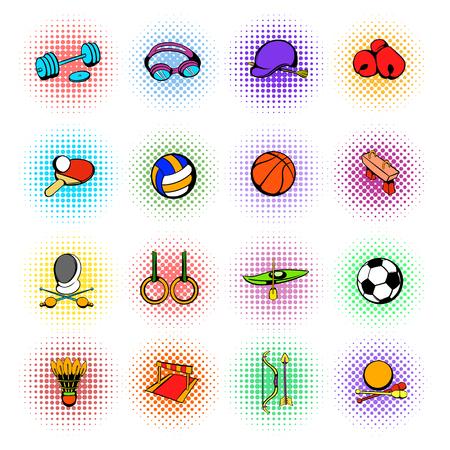 Photo pour Sports equipment icons set, comics style - image libre de droit