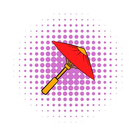 Foto de Asian red parasol or umbrella icon, comics style - Imagen libre de derechos