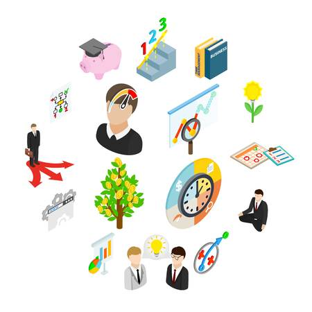 Illustration pour Business planning icons set in isometric 3d style isolated on white - image libre de droit