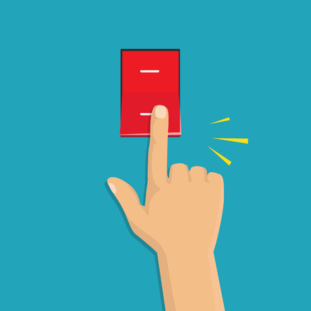 Illustration pour Toggle switch. Electric control concept. Vector graphic design. Isometric icon. Hand turning on the light - image libre de droit