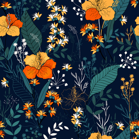 Illustration for Retro Wild seamless flower pattern. Vintage background. Wallpaper. Blooming realistic isolated flowers. Hand drawn. Vector illustration. - Royalty Free Image