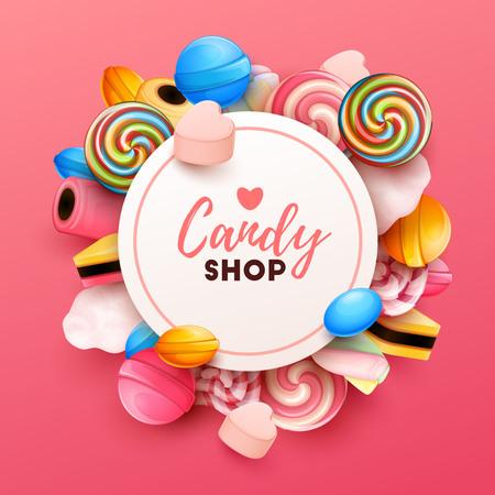 Ilustración de Colorful background with sweets. Vector Illustration - Imagen libre de derechos