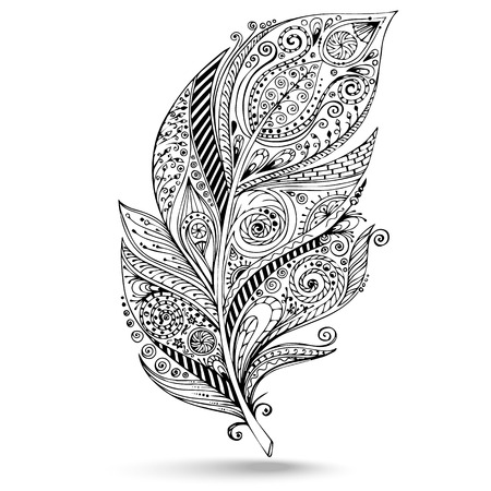 Illustration pour Vector tribal feather. llustration is created from a personal sketch by trace. Series of doodle feather. - image libre de droit