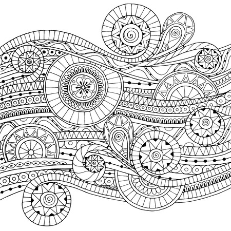Illustration for Original drawing tribal doddle ethnic pattern. Background with geometric elements. Black and white version. - Royalty Free Image