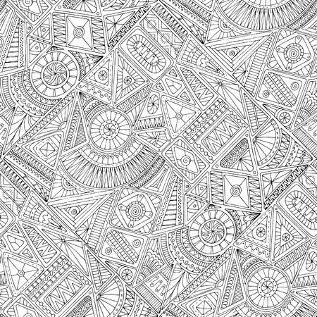 Illustration for Seamless asian ethnic floral retro doodle black and white background pattern in vector. Henna paisley mehndi doodles design tribal black and white pattern. Used clipping mask for easy editing. - Royalty Free Image