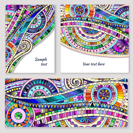 Illustration for Set of abstract doodle tribal vector cards. - Royalty Free Image