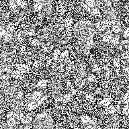 Illustration pour Seamless  floral retro doodle black and white pattern in vector. - image libre de droit