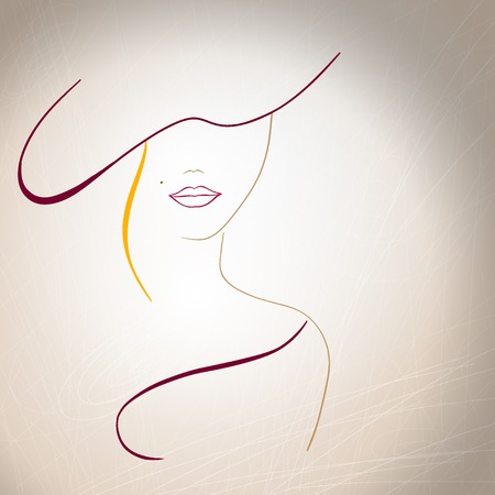 Illustration pour Abstract silhouette of a woman with a mole on the lips and a hat. - image libre de droit