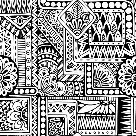 Illustration pour Seamless ethnic  doodle black and white background pattern in vector - image libre de droit