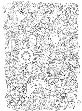 Illustration for Coffee and tea doodle background in vector with paisley. Ethnic zentangle pattern can be used for menu, wallpaper, pattern fills, coloring books and pages for kids and adults. Black and white. - Royalty Free Image
