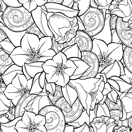 Illustration pour Doodle seamless background in vector with doodles, flowers and paisley. Vector ethnic pattern can be used for wallpaper, pattern fills, coloring books and pages for kids and adults. Black and white. - image libre de droit