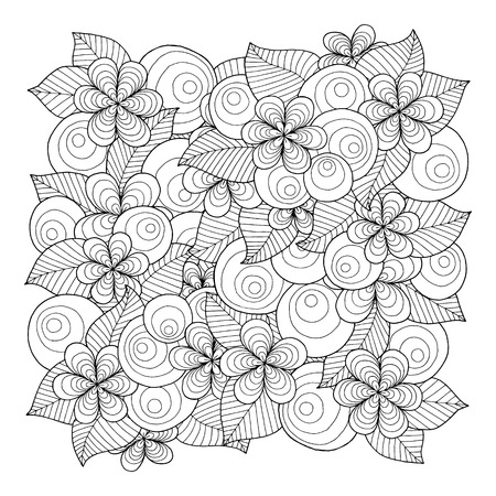 Illustration pour Doodle background in vector with doodles, flowers and paisley. Vector ethnic pattern can be used for wallpaper, pattern fills, coloring books and pages for kids and adults. Black and white. - image libre de droit