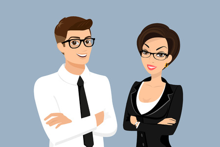Illustration for Business man and woman isolated on blue background - Royalty Free Image