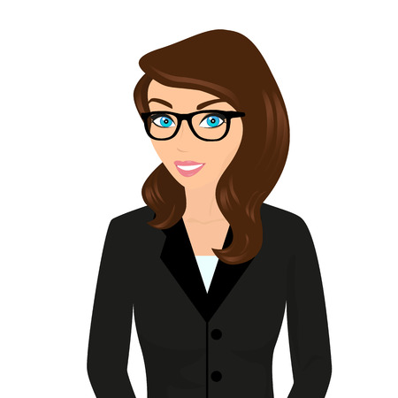 Ilustración de Business lady wearing brown hair and modern glasses.  Isolated on white - Imagen libre de derechos