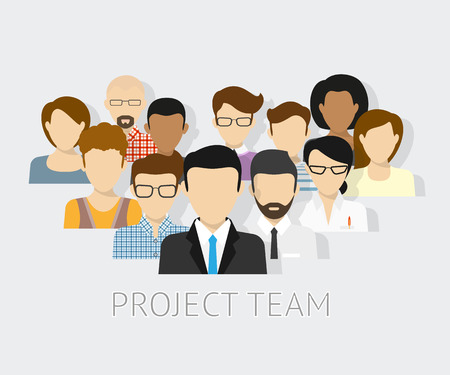 Ilustración de Vector illustration of project team. Flat avatars - Imagen libre de derechos