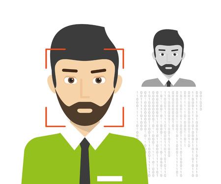 Ilustración de Face identification of man wearing beard.  - Imagen libre de derechos