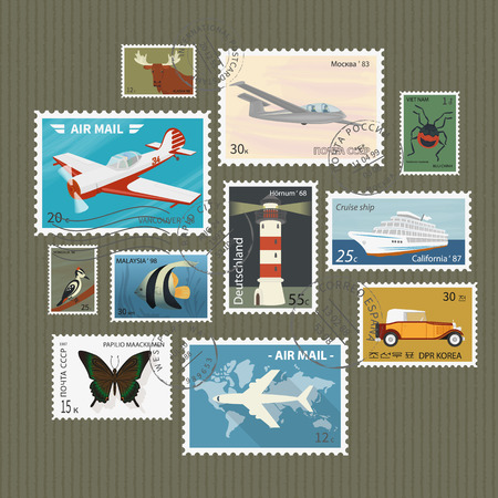 Illustration pour Retro postage stamps collection on textured paper - image libre de droit