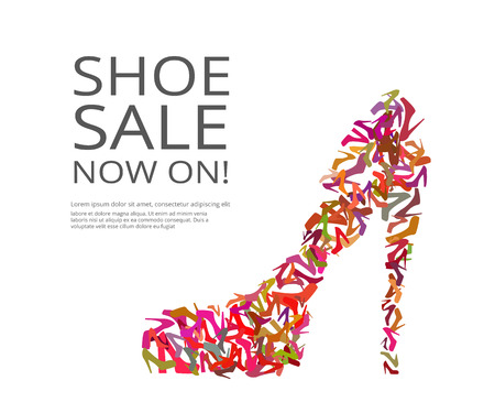 Ilustración de Fashion poster of women multi color shoes on white background. Text outlined - Imagen libre de derechos