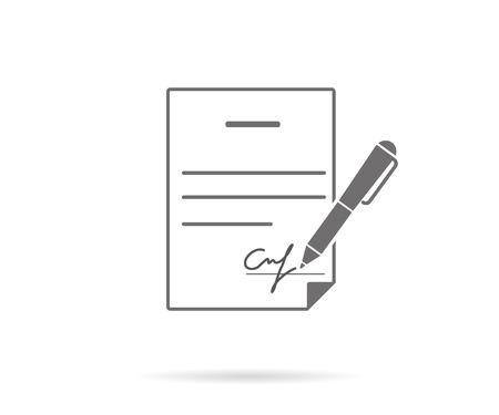 Illustration pour Business contract with signature. Flat vector icon - image libre de droit