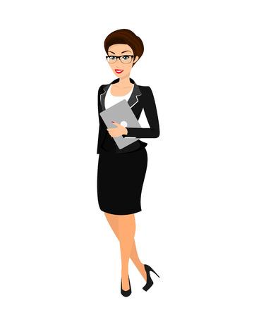 Illustration pour Business woman wearing black suit. Isolated on white - image libre de droit