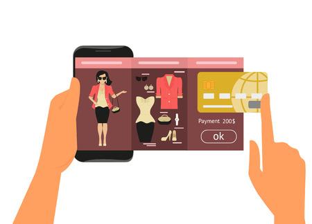 Ilustración de Mobile app for women online shopping of fashion dress - Imagen libre de derechos