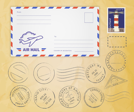 Illustration pour Retro postage stamps collection with envelope on textured paper - image libre de droit