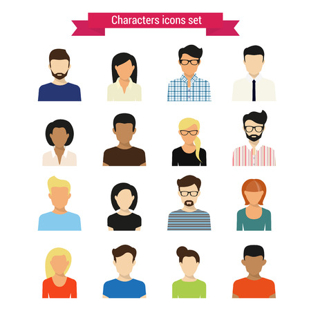 Photo pour Vector characres icons set of modern people isolated on white - image libre de droit