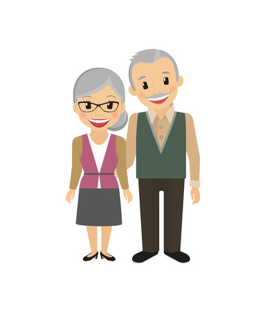Illustration for Happy grandparents isolated on white vector illustration - Royalty Free Image