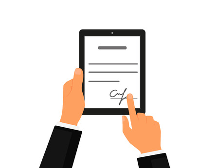Illustration pour Business contract with signature on tablet pc. Flat vector icon - image libre de droit