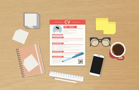 Illustration pour Realistic desktop design with CV template presentation - image libre de droit